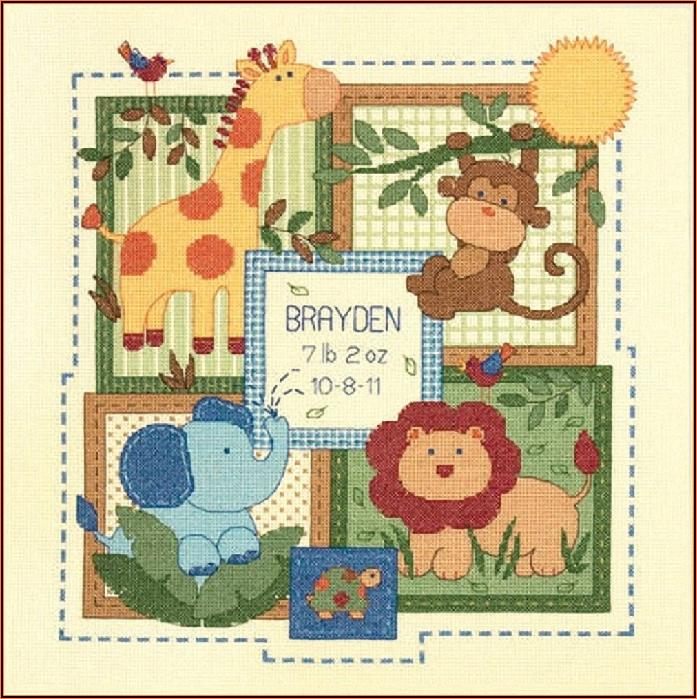 Counted Cross Stitch Birth Record For Twins