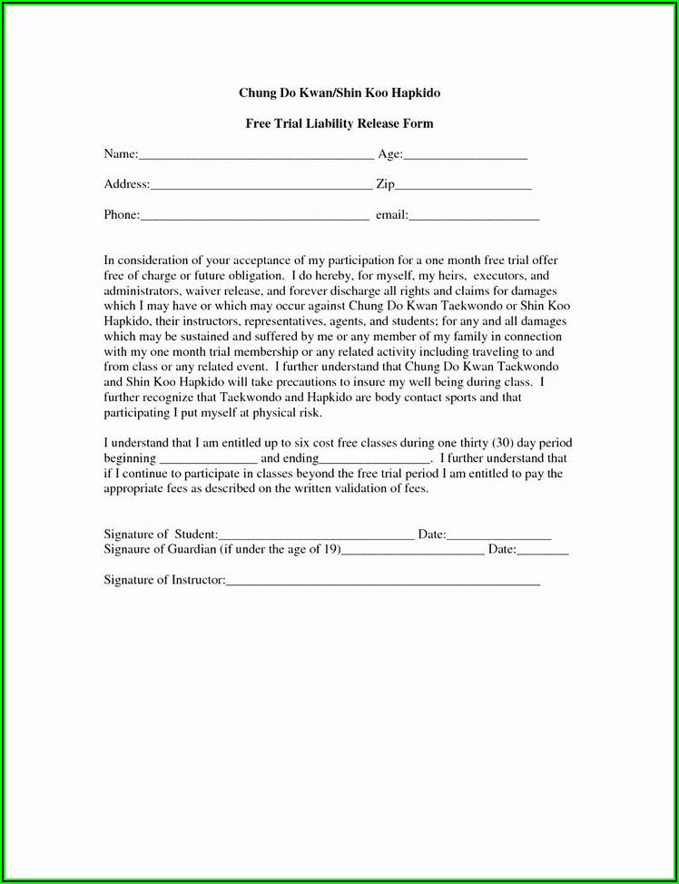 Covid 19 Liability Release Waiver Template