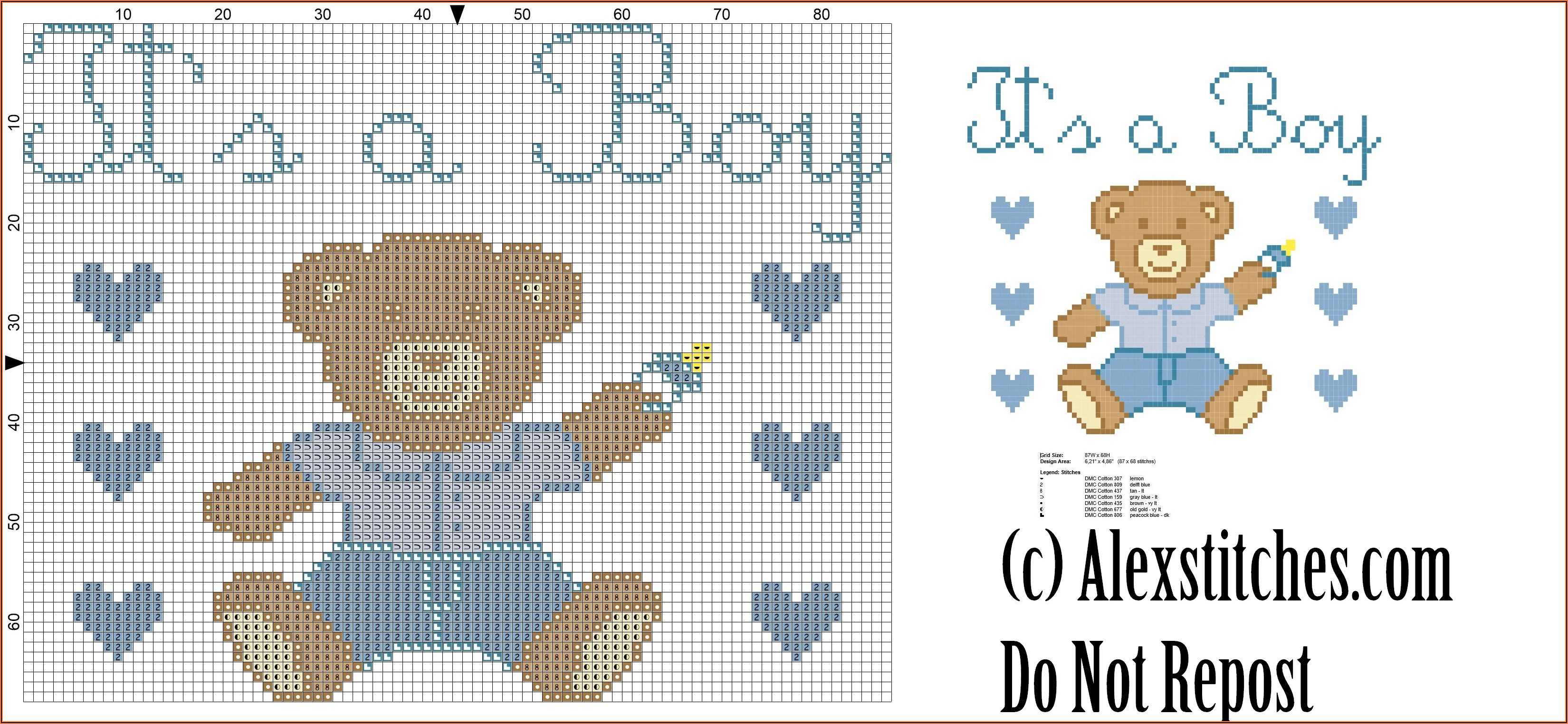 Cross Stitch Birth Announcement Boy Patterns Free
