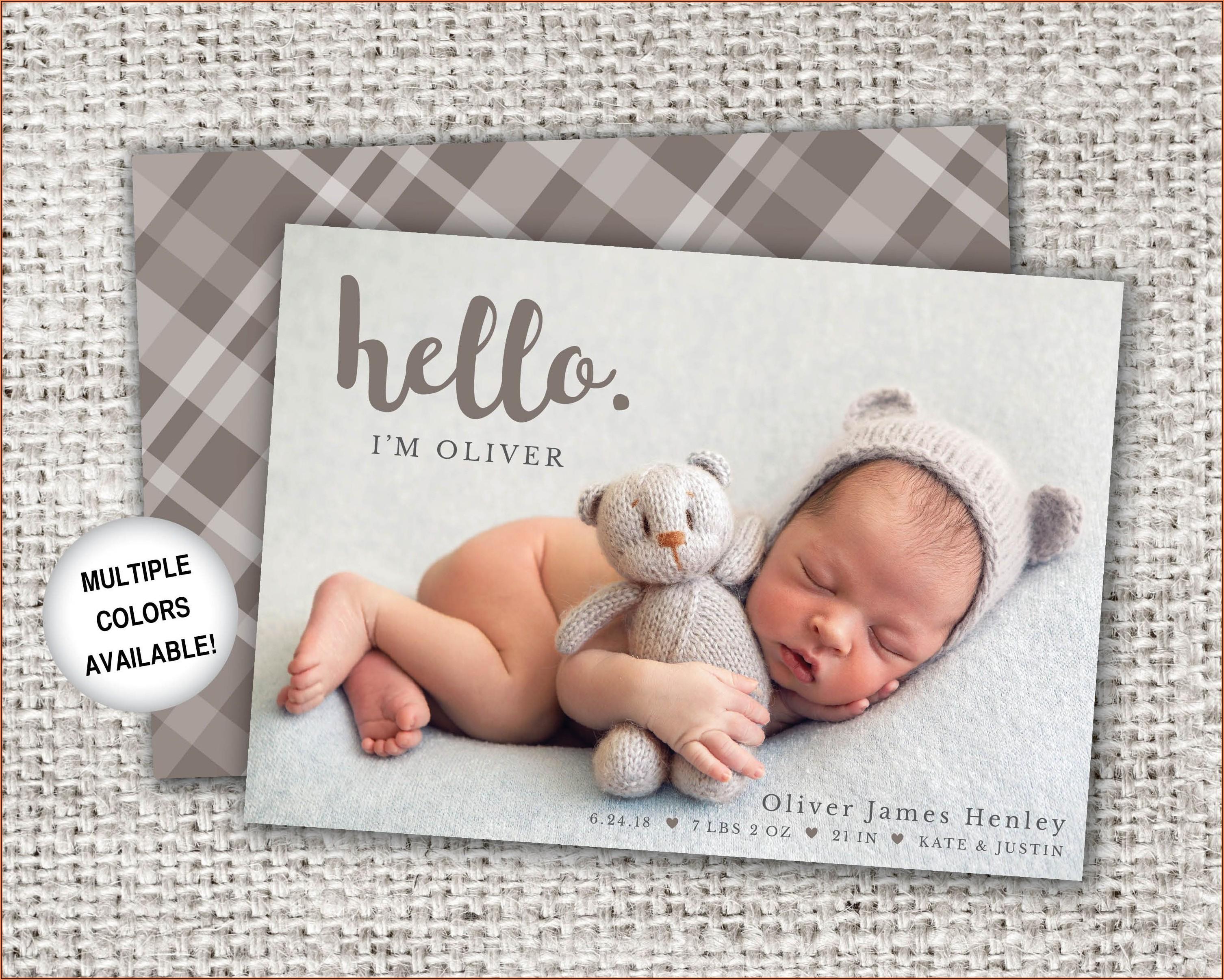 Cute Baby Boy Birth Announcement Template