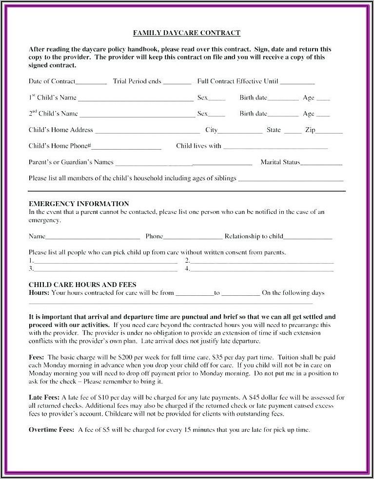 Daycare Registration Form Sample