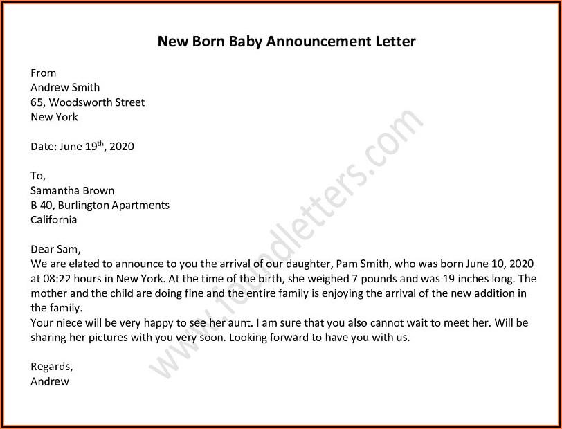 Death Announcement Letter Template