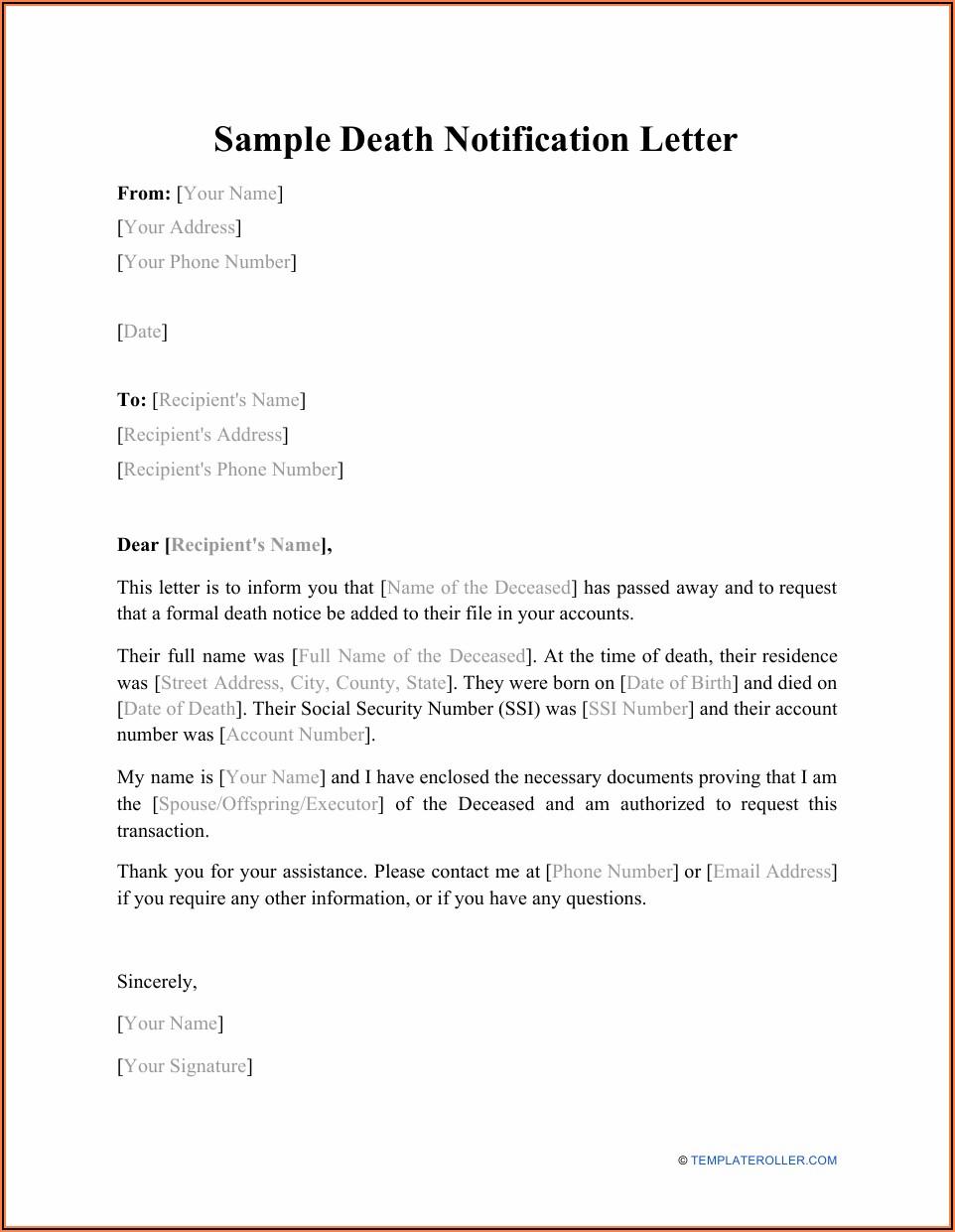 Death Announcement Notice Sample