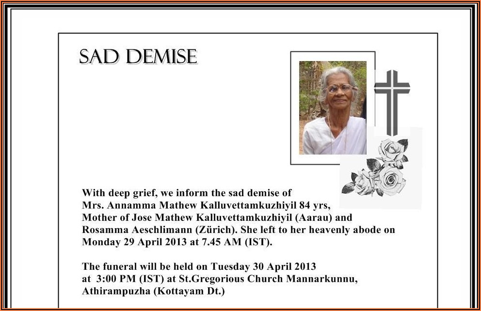 Death Announcement Wording Facebook Funeral Announcement Sample
