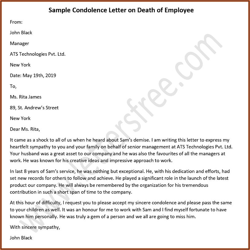 Death Notice Sample Email