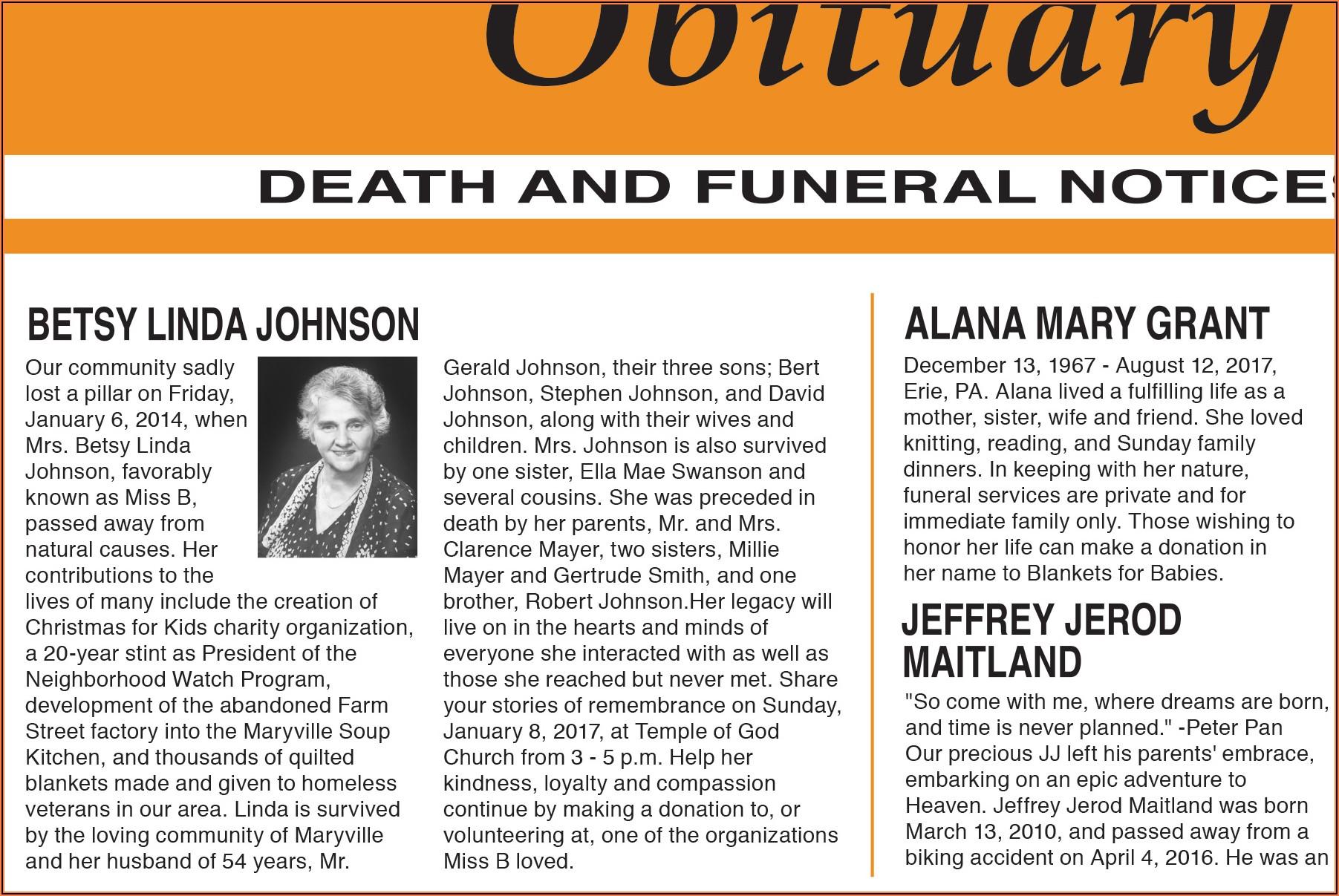 Death Notice Wording Examples