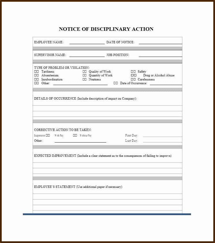 Disciplinary Template Letter Free