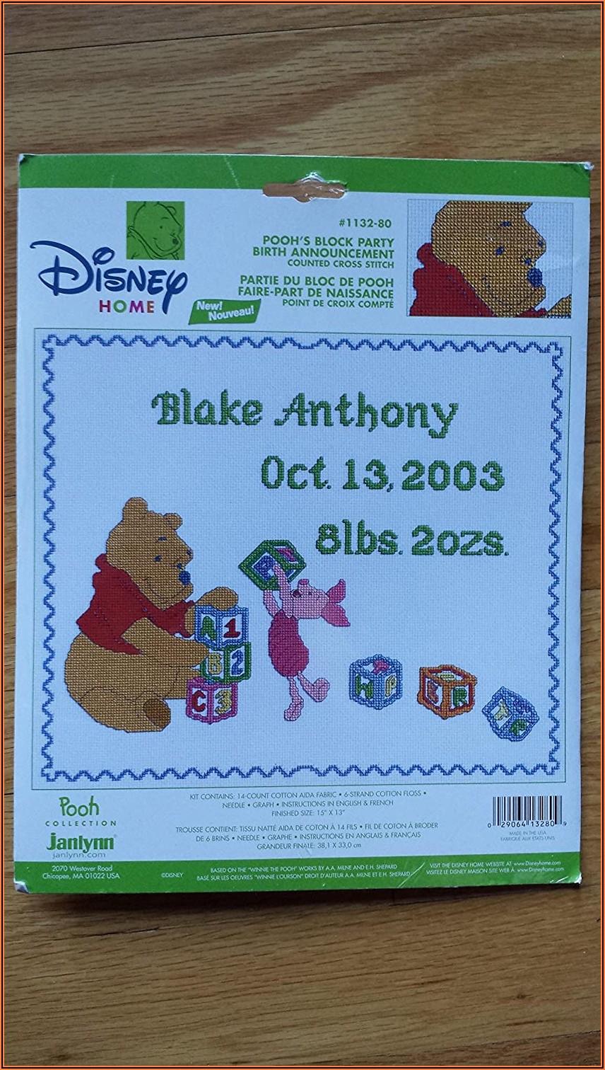 Disney Counted Cross Stitch Birth Announcement