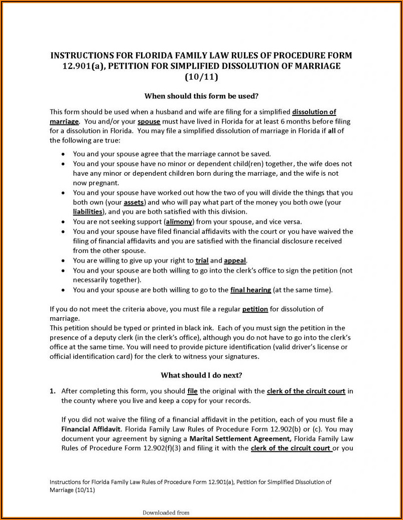 Dissolution Of Marriage In Florida Forms