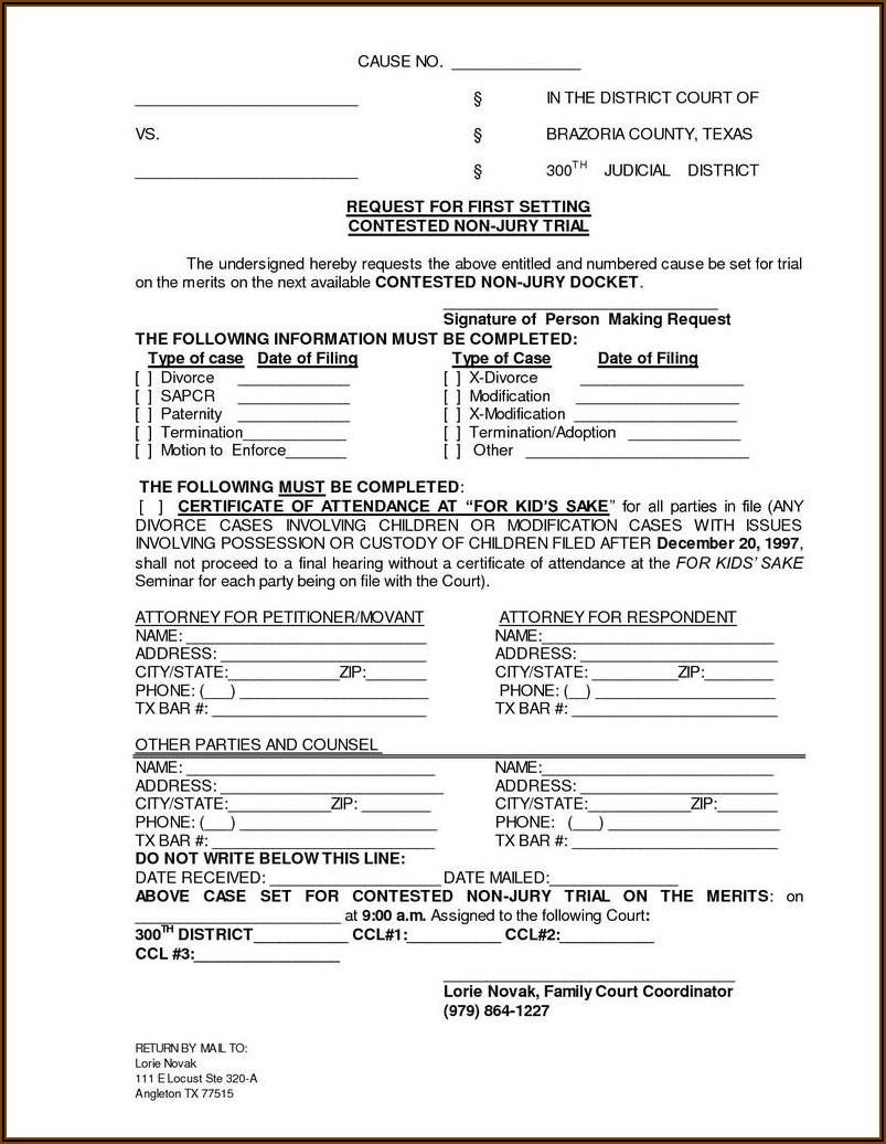 Divorce Paper Template Texas