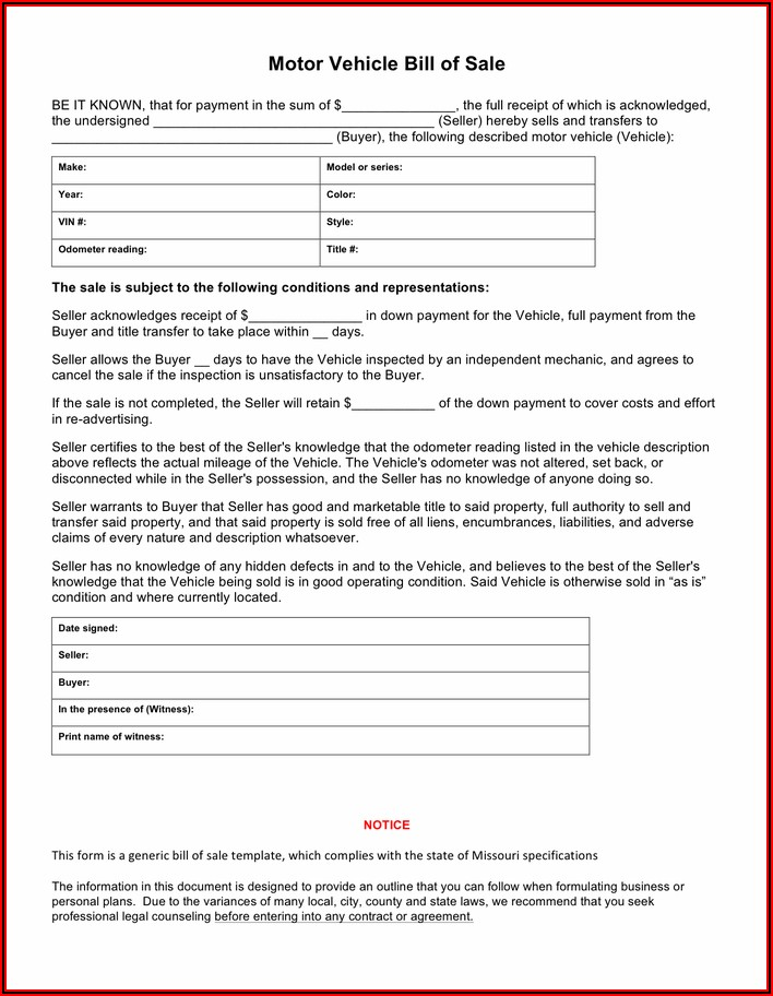 Download Vehicle Bill Of Sale Form
