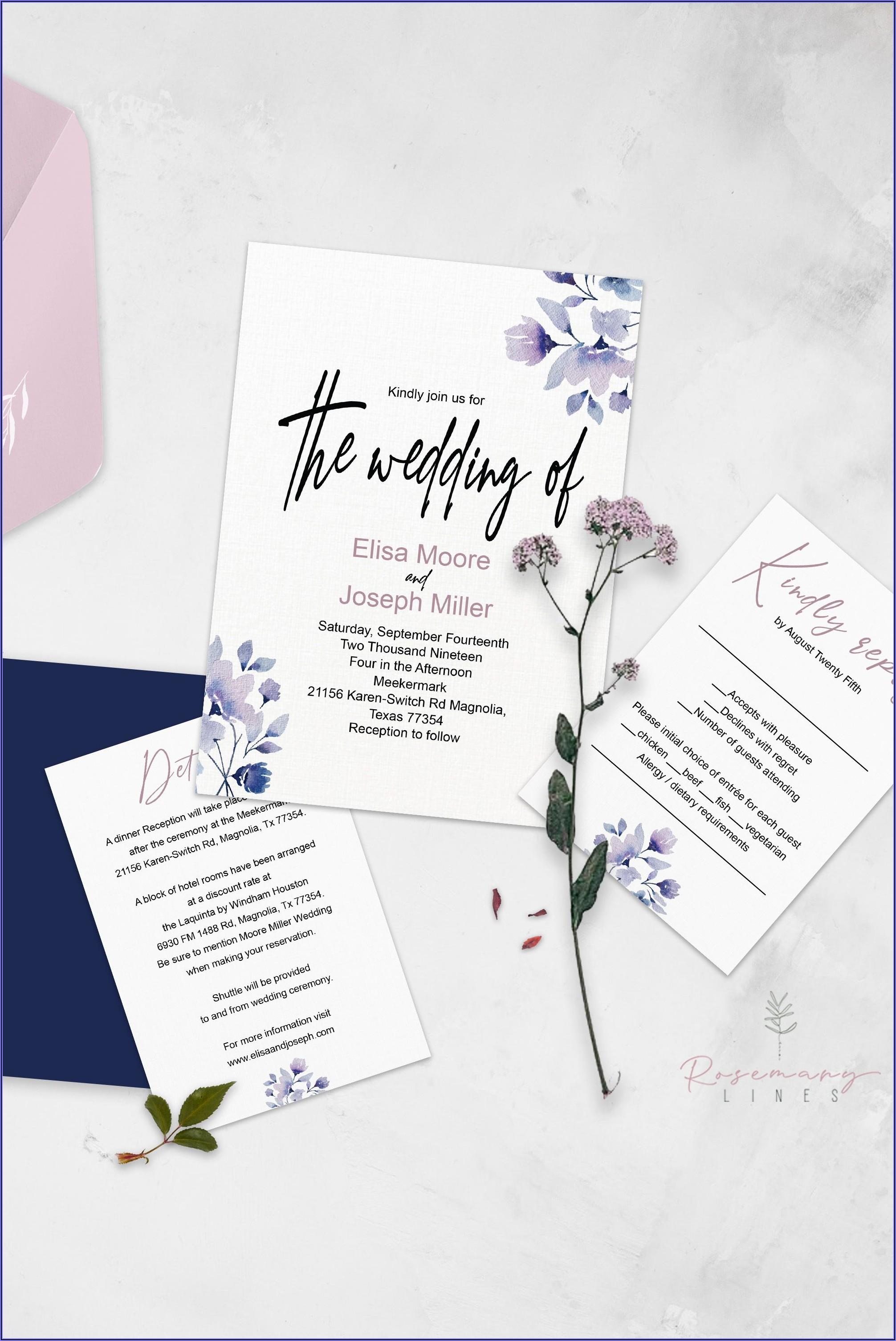 Dusty Blue And Blush Wedding Invitations
