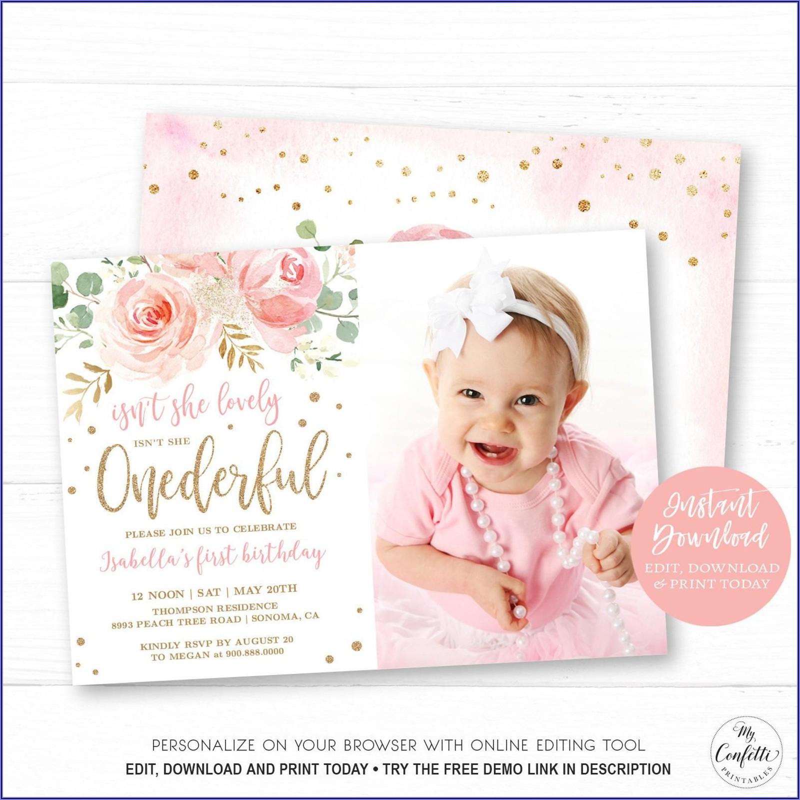 Editable Baby Girl Birthday Invitation