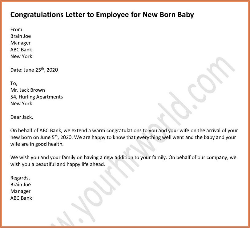 Employee New Baby Announcement Email Sample
