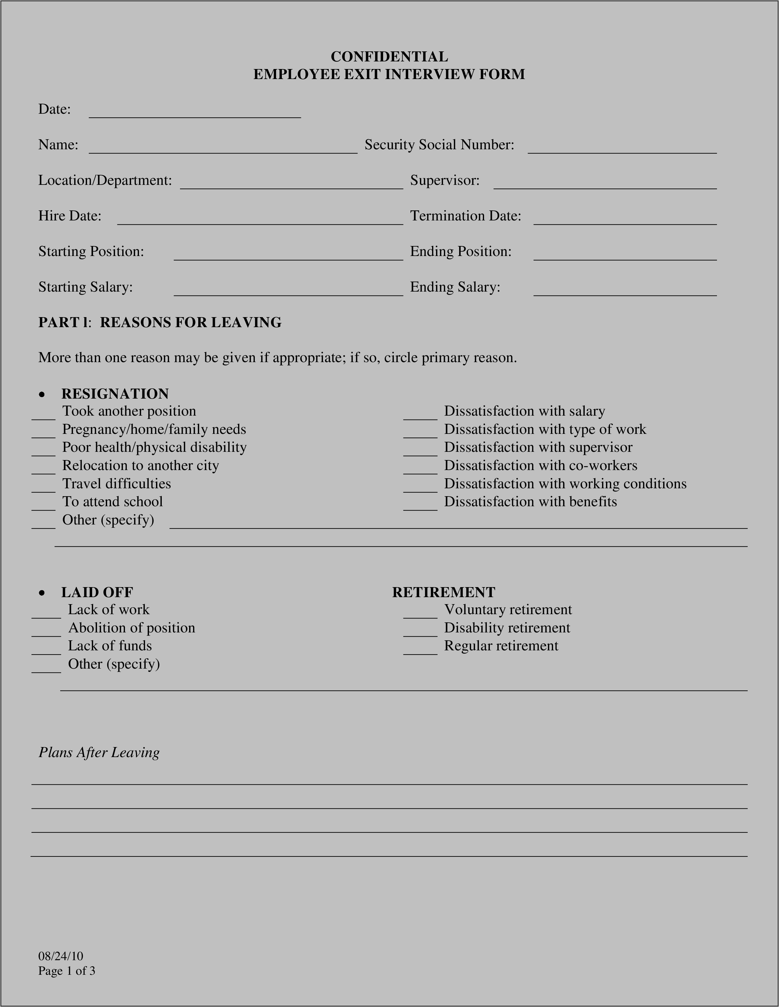 Employee Resignation Exit Interview Form