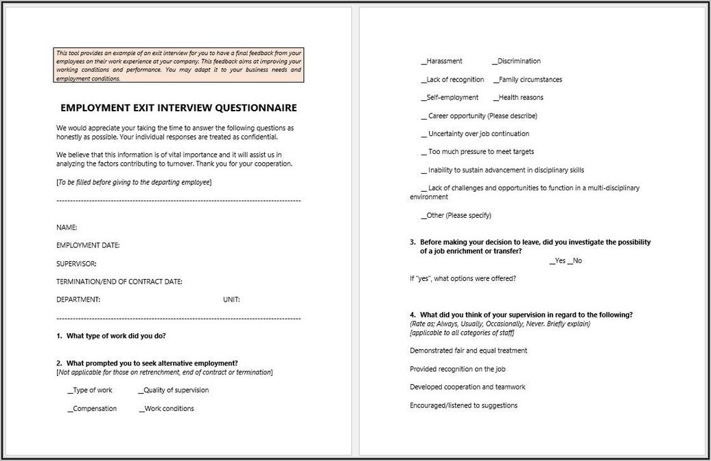 Employment Exit Interview Template
