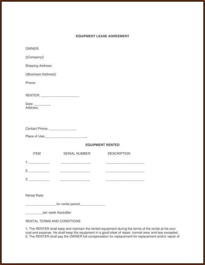 Equipment Rental Agreement Contract Template