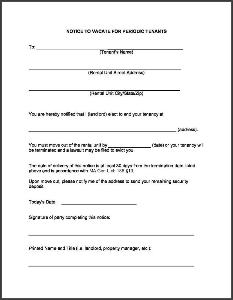 Eviction Notice Form Massachusetts