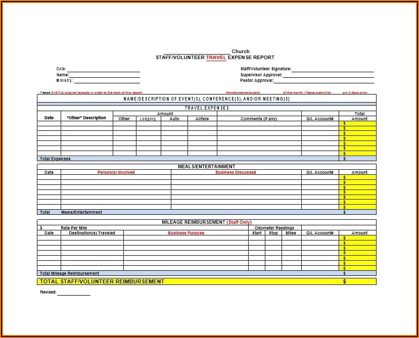 Excel Expense Form Templates