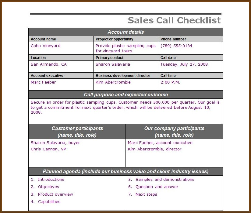Excel Templates For Sales Calls