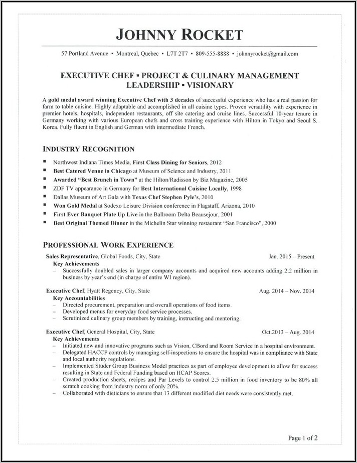 Executive Chef Resume Format