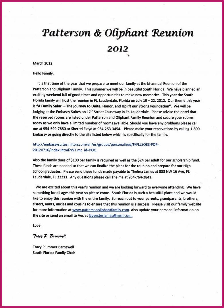 Family Reunion Announcement Letter Sample