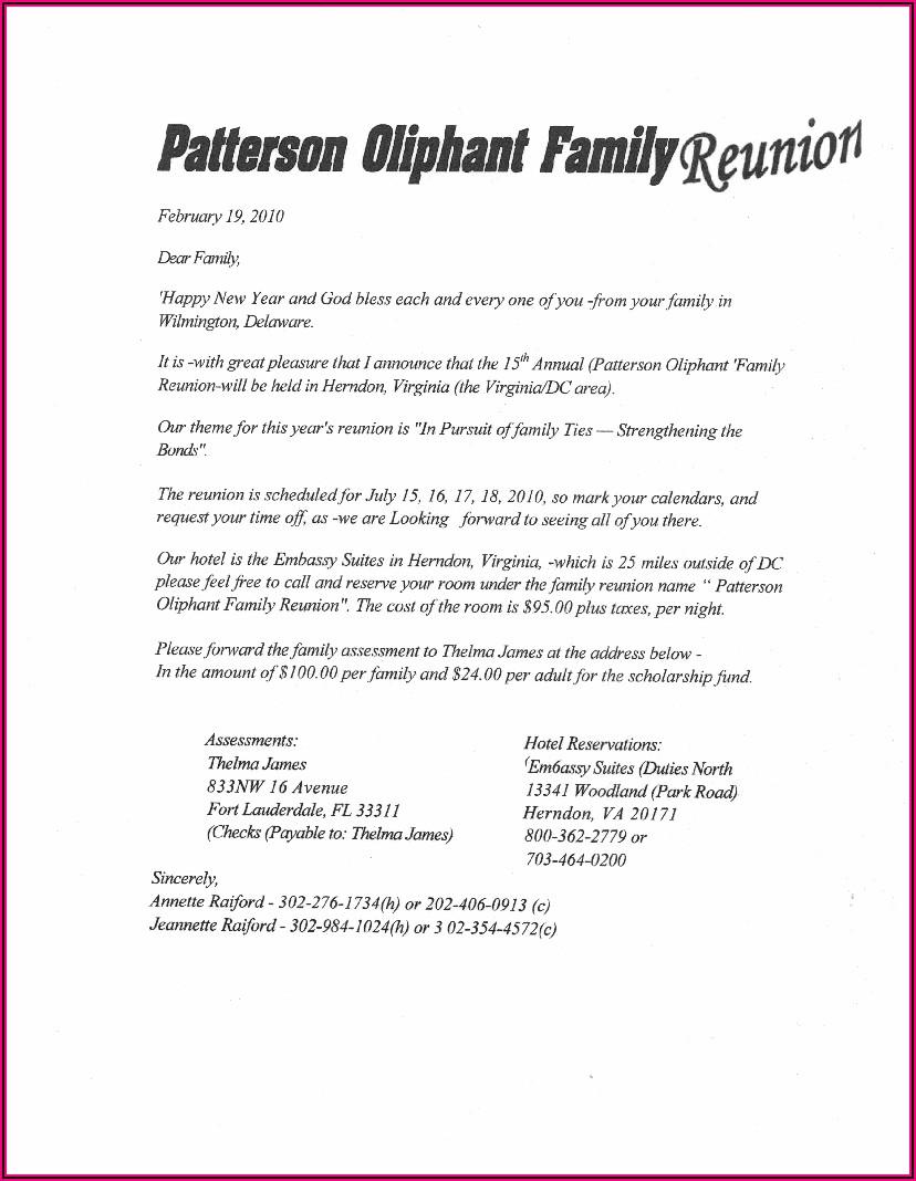 Family Reunion Announcement Sample