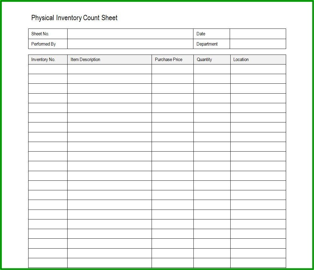 Fixed Asset Inventory Form Excel