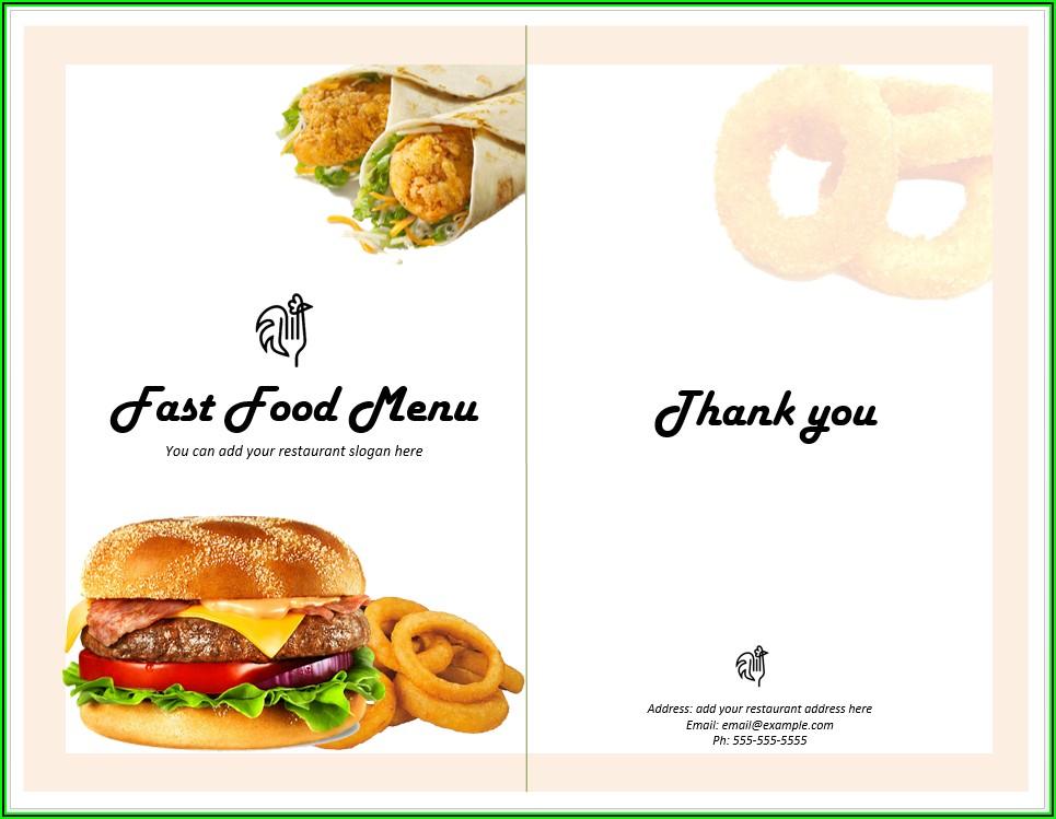Food Menu Template Free Download Word