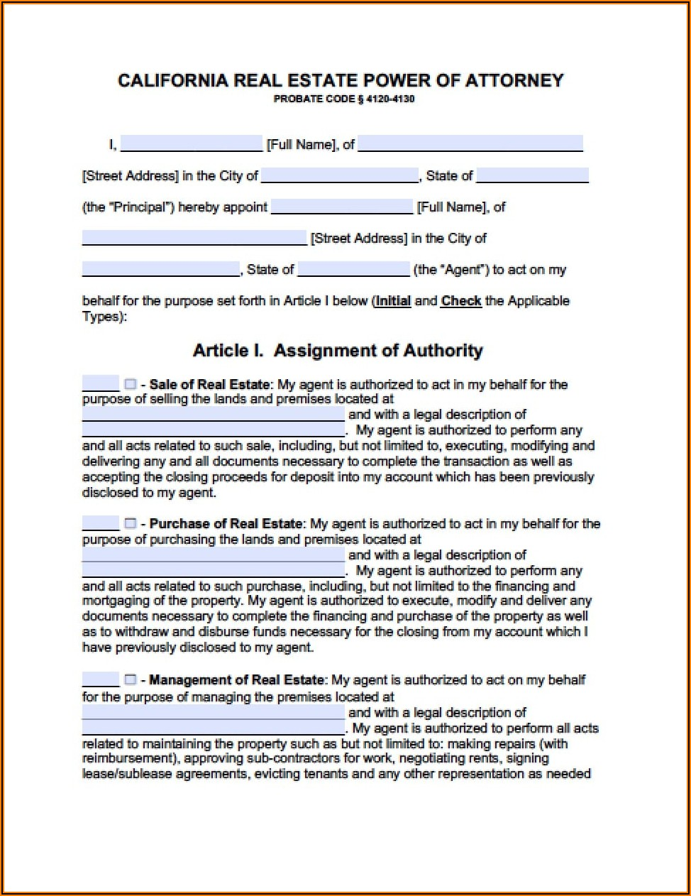 Form Durable Power Of Attorney California