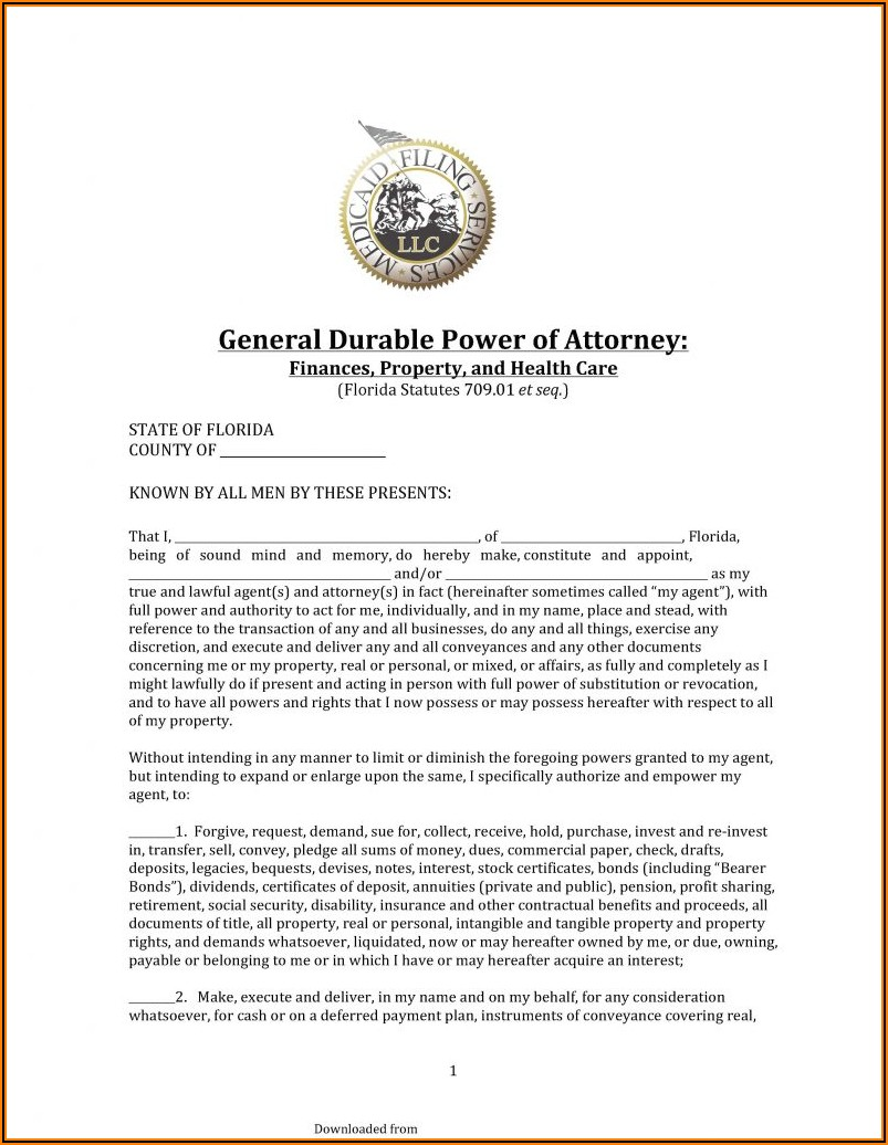 Form Durable Power Of Attorney Florida