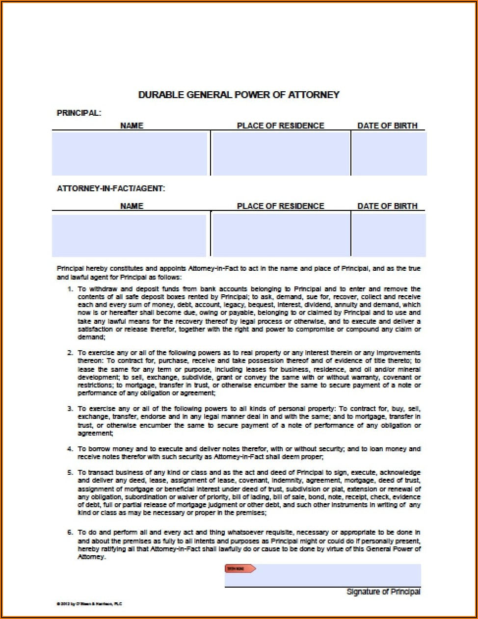 Form For Durable Power Of Attorney For Finances
