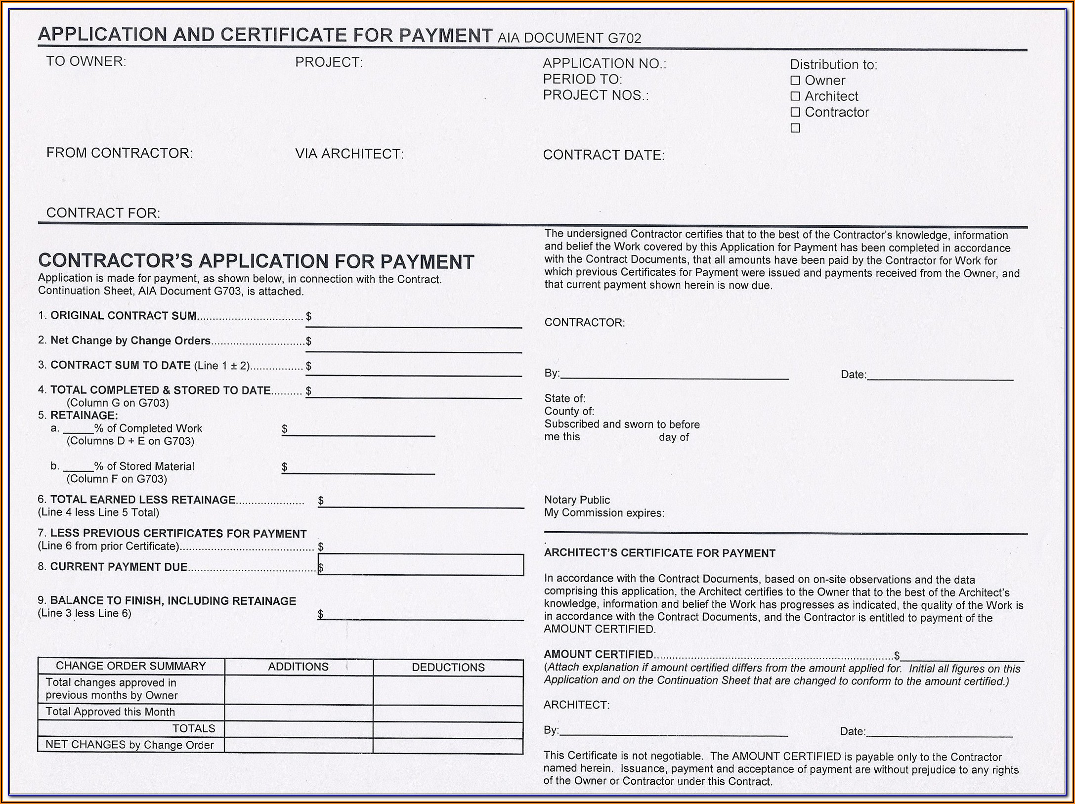 Free Aia G702 Fillable Form