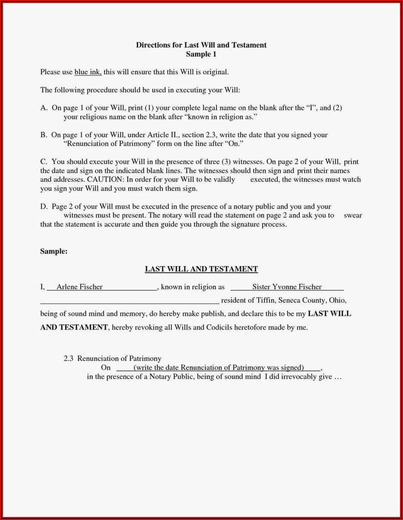 Free Blank Codicil Form