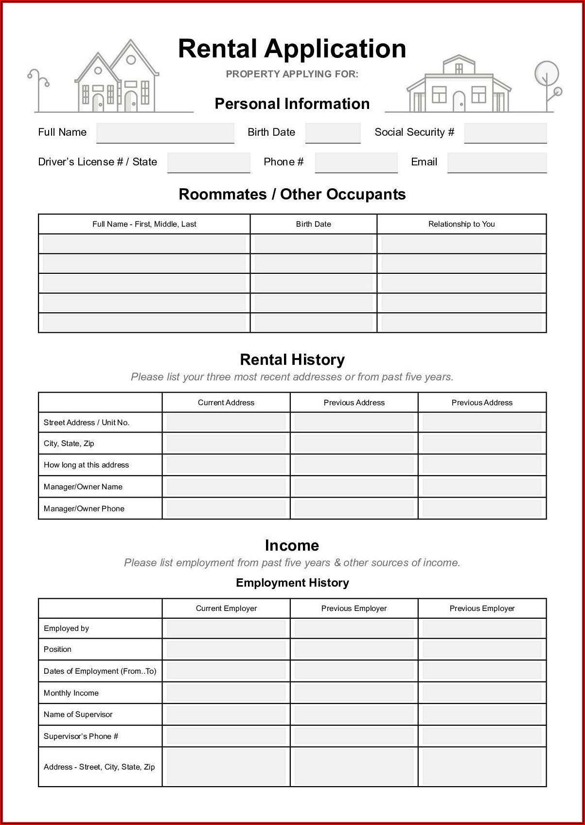Free California Rental Application Form Pdf