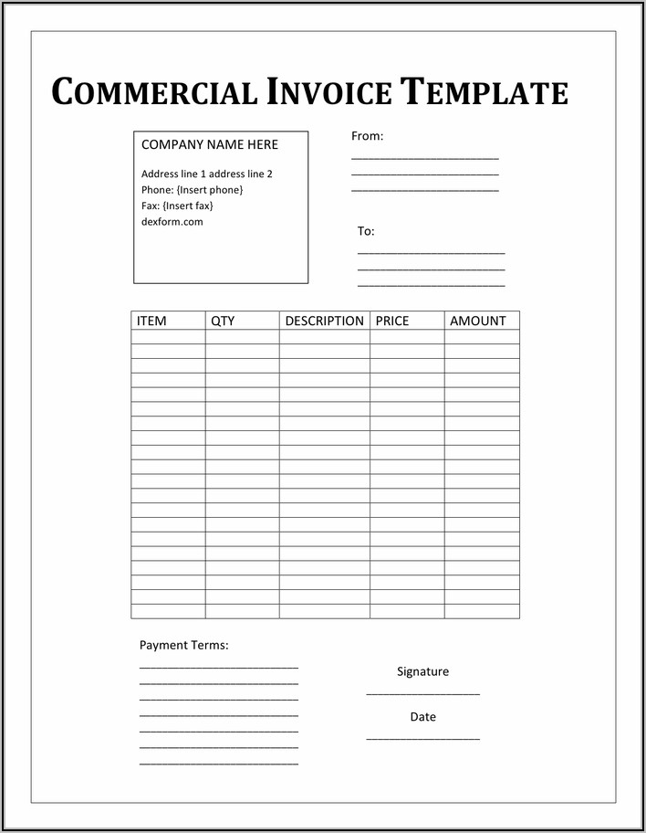 Free Commercial Invoice Template Pdf