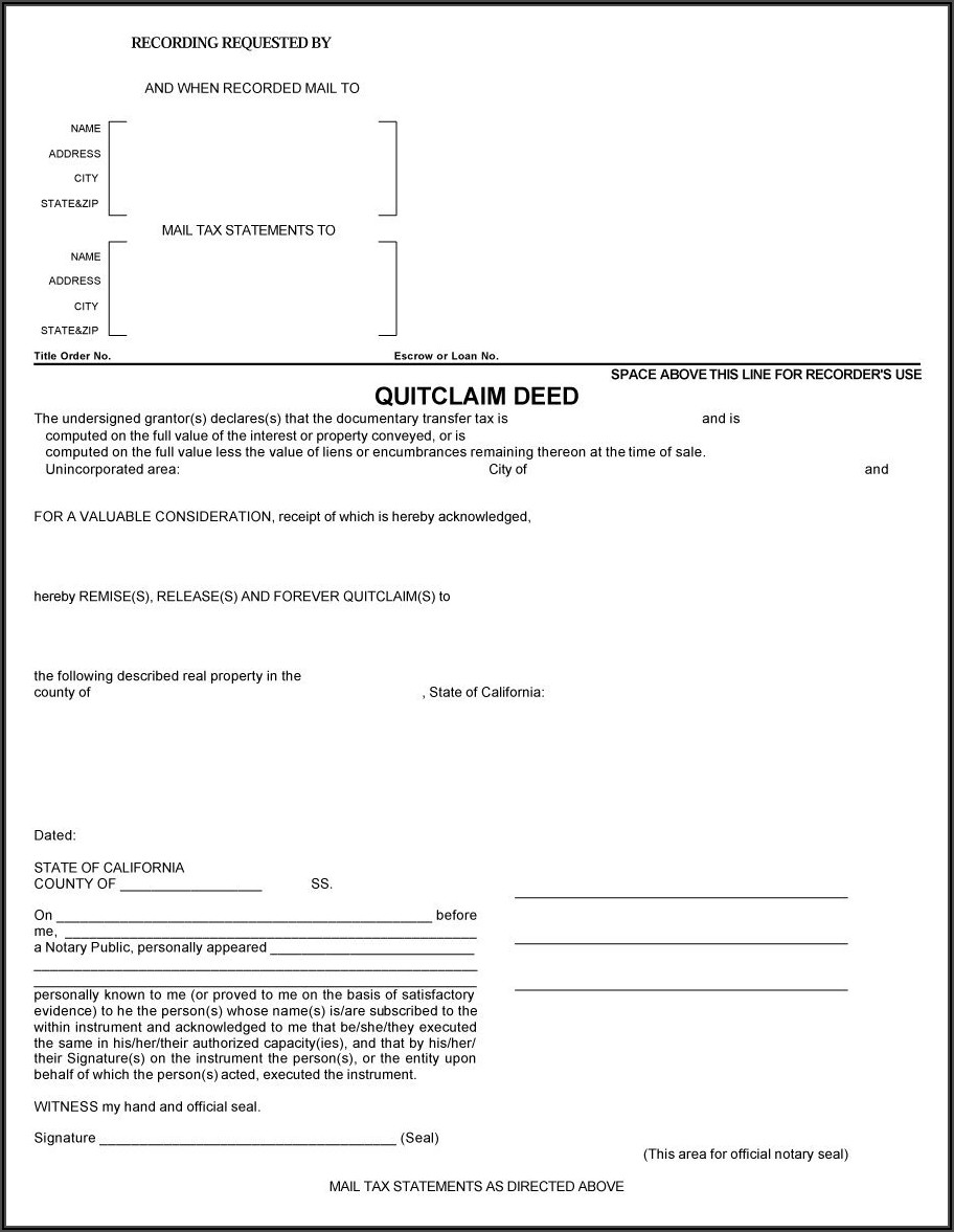Free Cook County Quit Claim Deed Form
