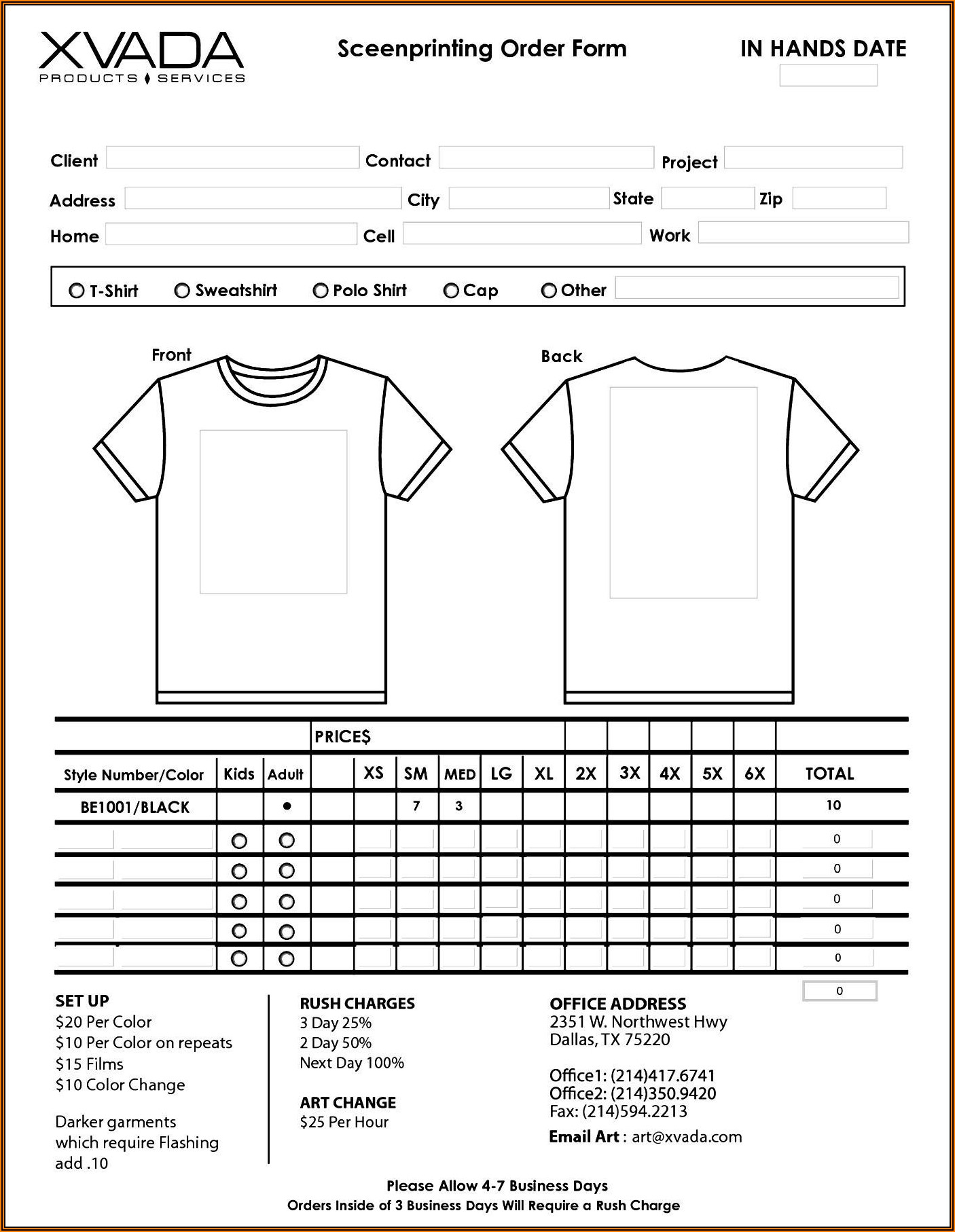 Free Customizable T Shirt Order Form Template