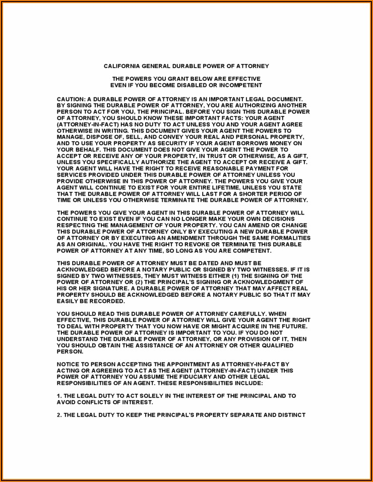 Free Download Durable Power Of Attorney Form California
