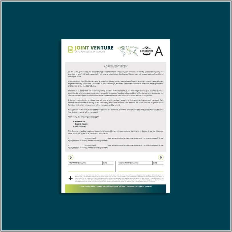 Free Download Joint Venture Agreement Template