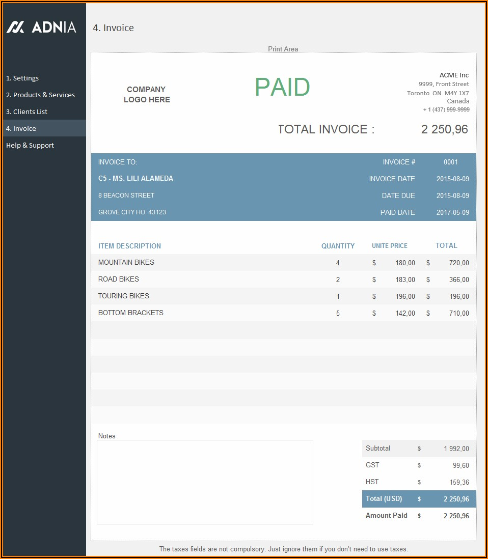 Free Download Sales Invoice Format In Excel