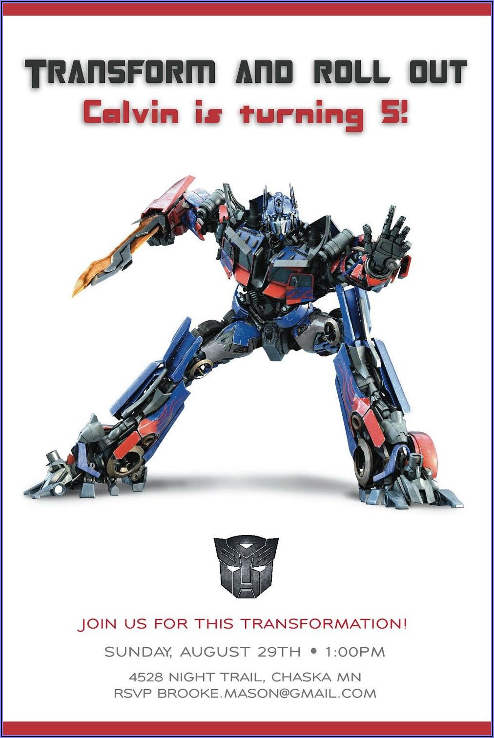 Free Editable Transformer Birthday Invitations