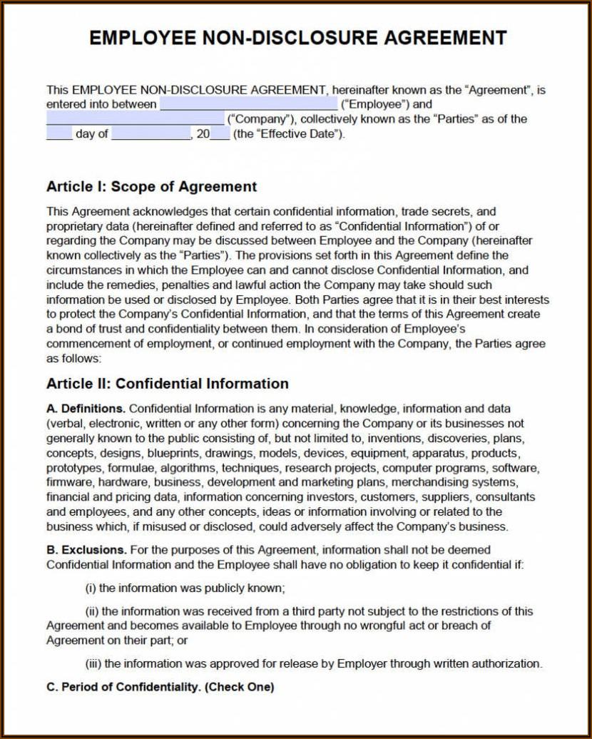 Free Employee Confidentiality Agreement Template Australia