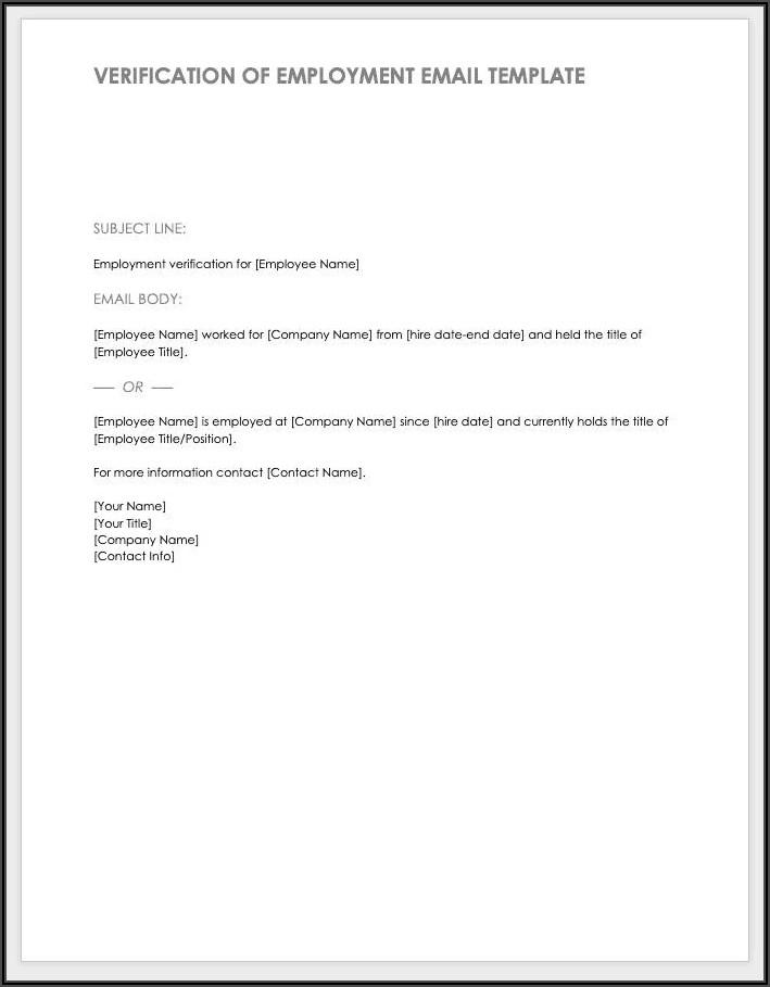 Free Employment Verification Form Template