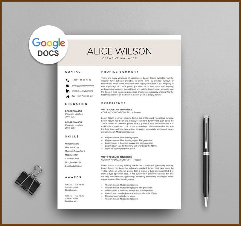 Free Google Resume Templates Download