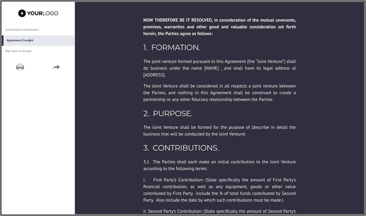 Free Joint Venture Agreement Template Uk