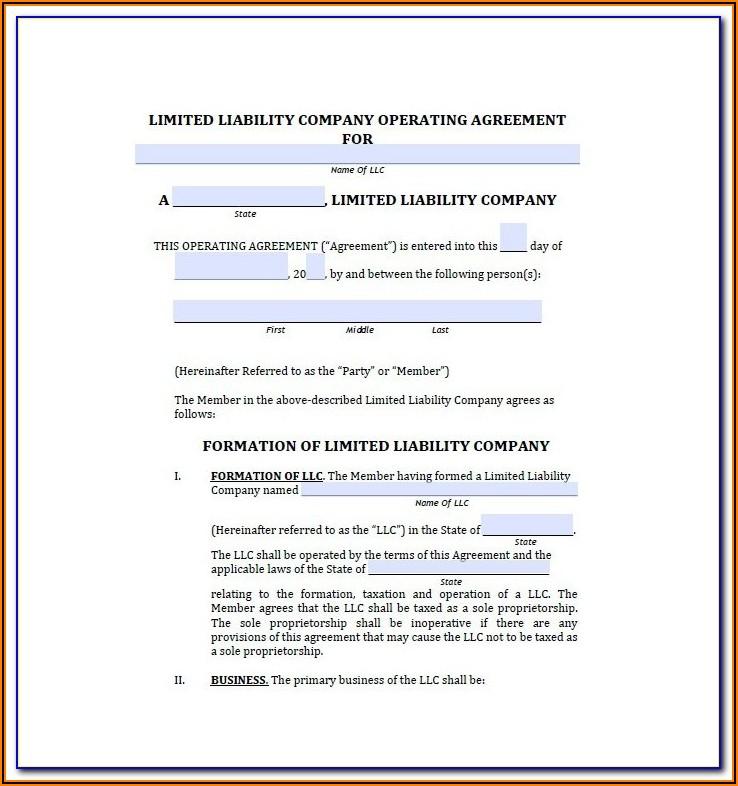 Free Nc Llc Operating Agreement Form