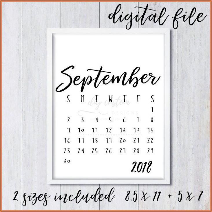 Free Printable Pregnancy Announcement Calendar 2020 September