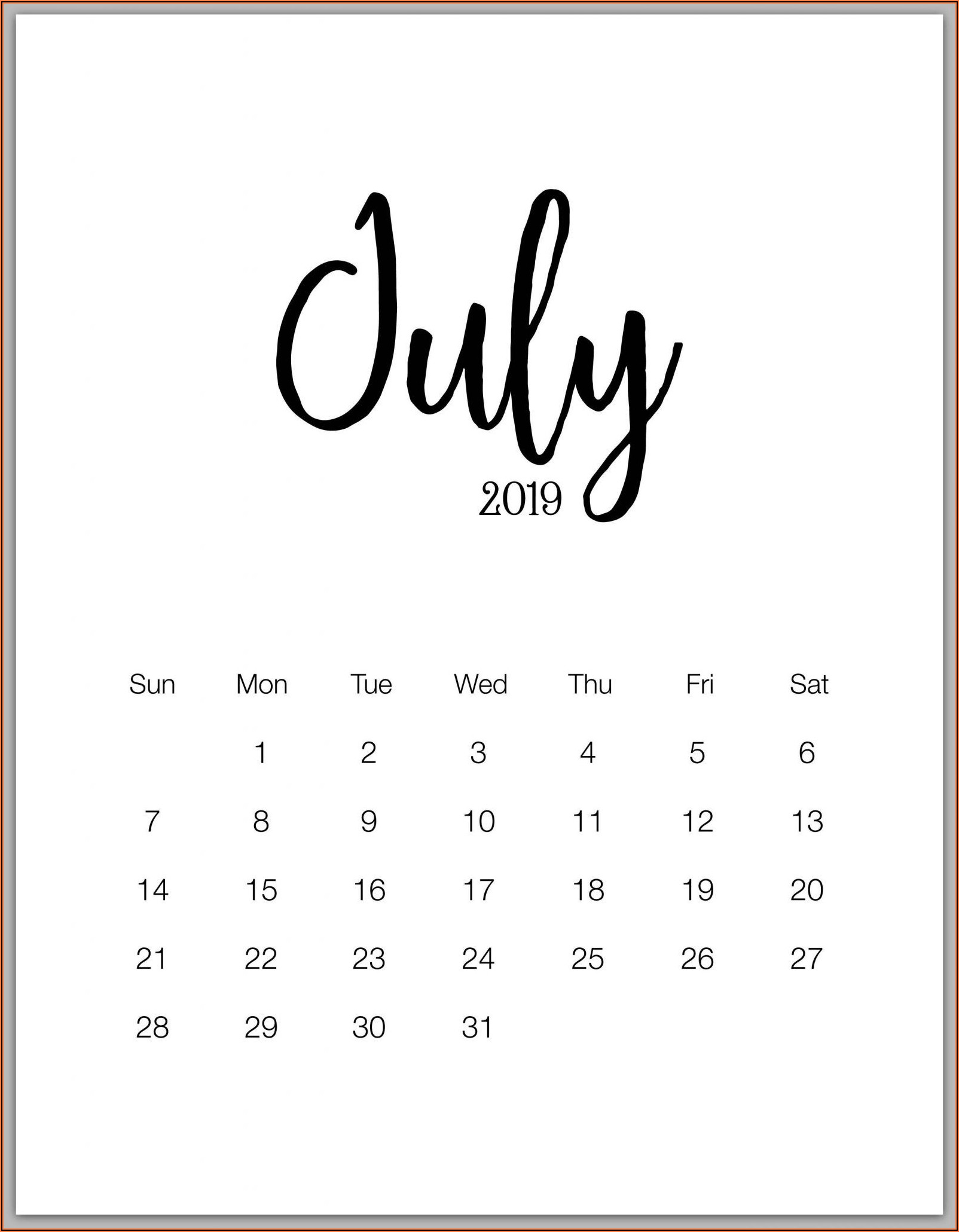 Free Printable Pregnancy Announcement Calendar July 2020