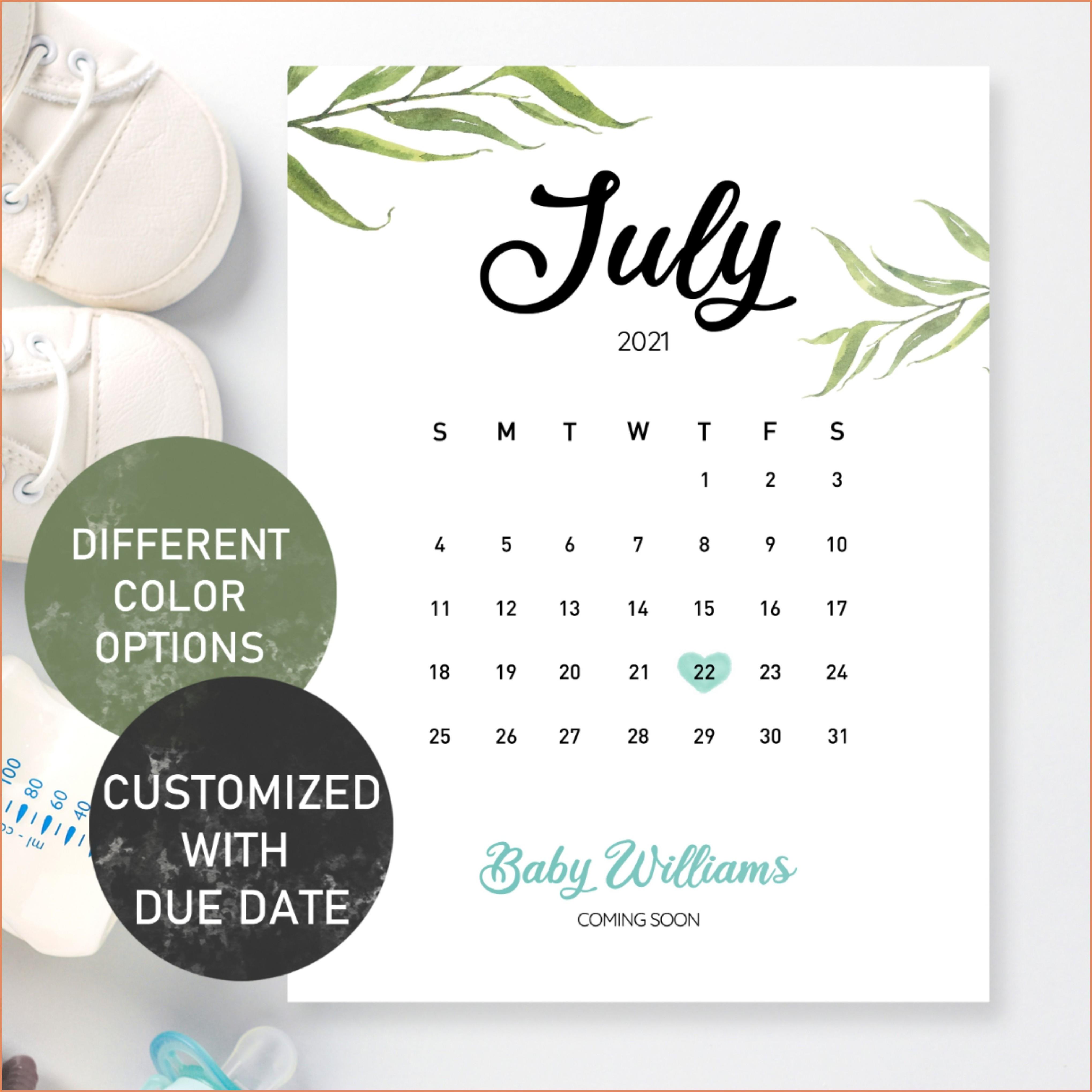 Free Printable Pregnancy Announcement Calendar July 2021